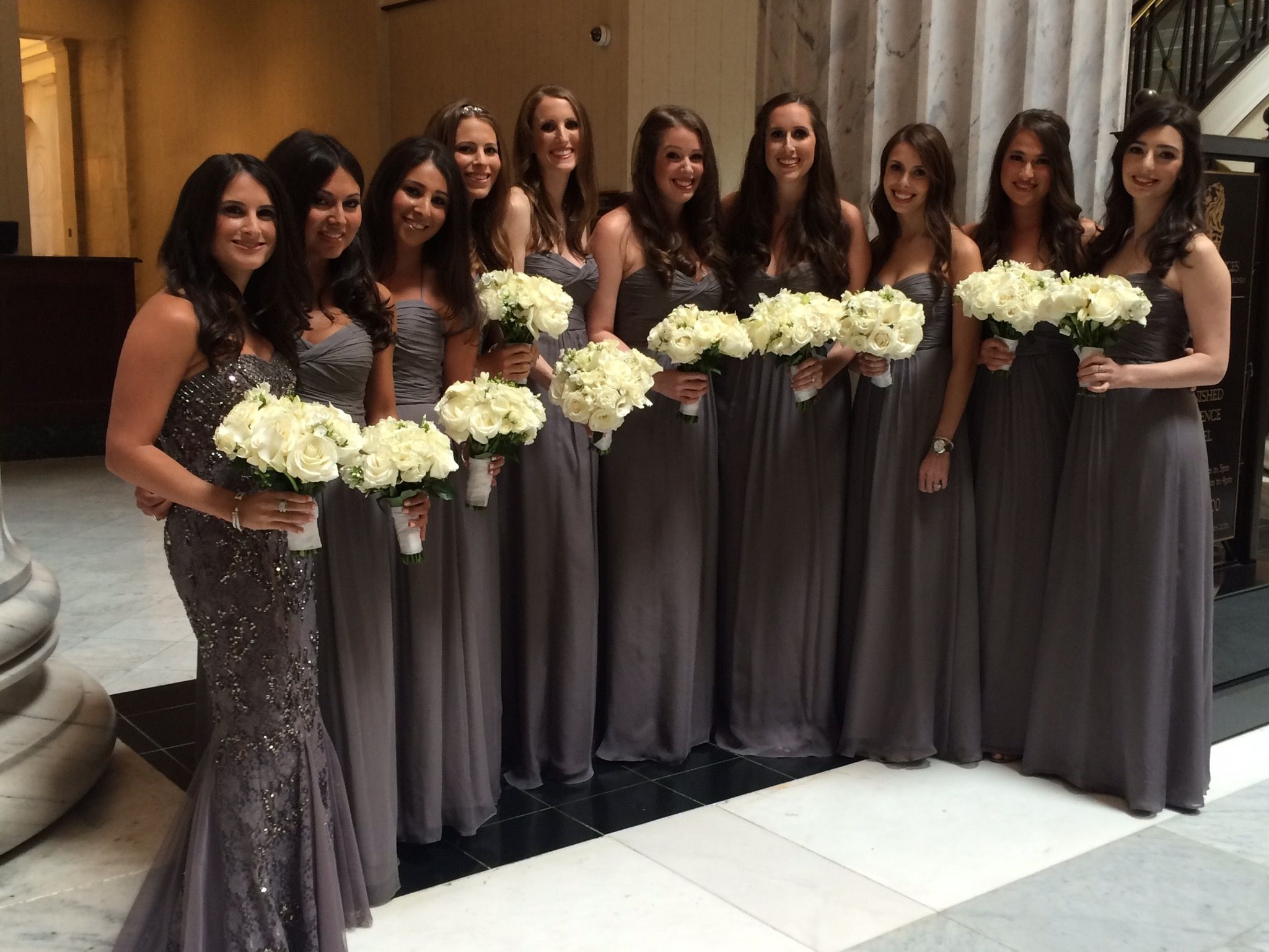 Amsale Graphite Chiffon Bridesmaid Gowns | The Wedding Library Real ...