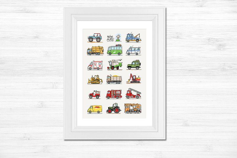Drucke Plakate Kinderzimmer Poster A3 Fahrzeuge Meine Autos