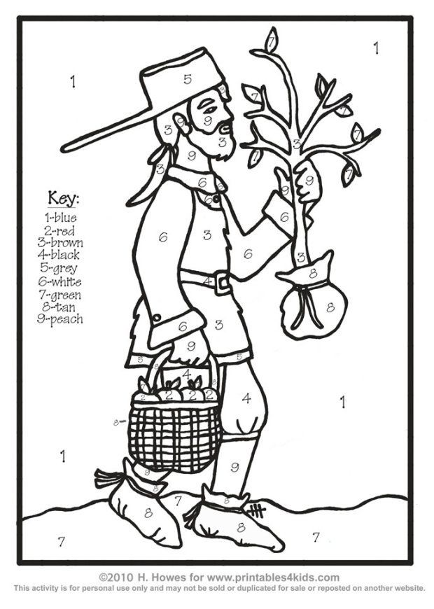 johhny appleseed coloring pages - photo#23