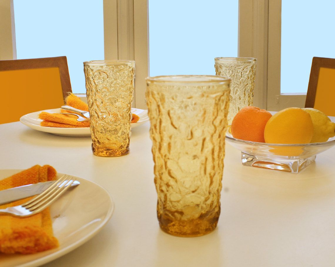 Anchor Hocking Milano Lido Glasses Crinkle Gold by DecorStory