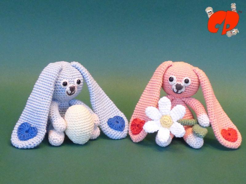 Häkelanleitung (060): Schlappohrhasis von CrochetPerfect Häkelanleitungen auf DaWanda.com