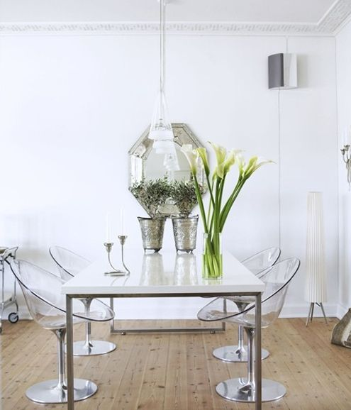 Clear Kitchen Chairs: Clear Chairs, White Dining Table