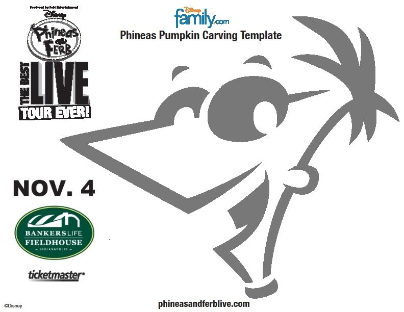 3 FREE Disney Phineas Ferb Pumpkin Carving Stencil Printable Pages ...