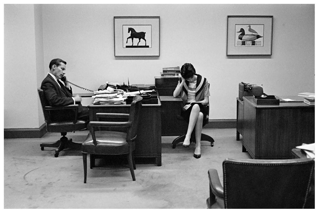 Office at Bankers Trust, New York - 1960. By French photographer Henri Cartier-Bresson.