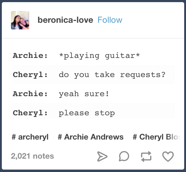 This, which goes through your head every time Archie starts talking about ~his music~.