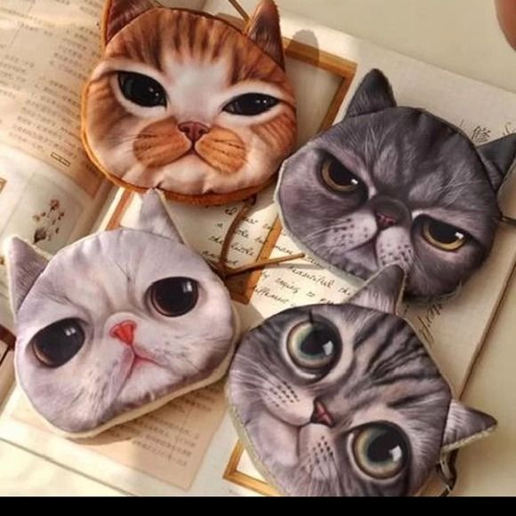 e59634e9ba6f HOST PICK Cat face mini coin pouch/makeup bag New, never used. Only ...