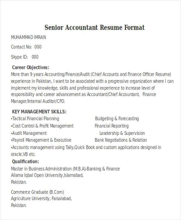 Senior Auditor Resume Accountant Resume Resume Format Job Resume Format
