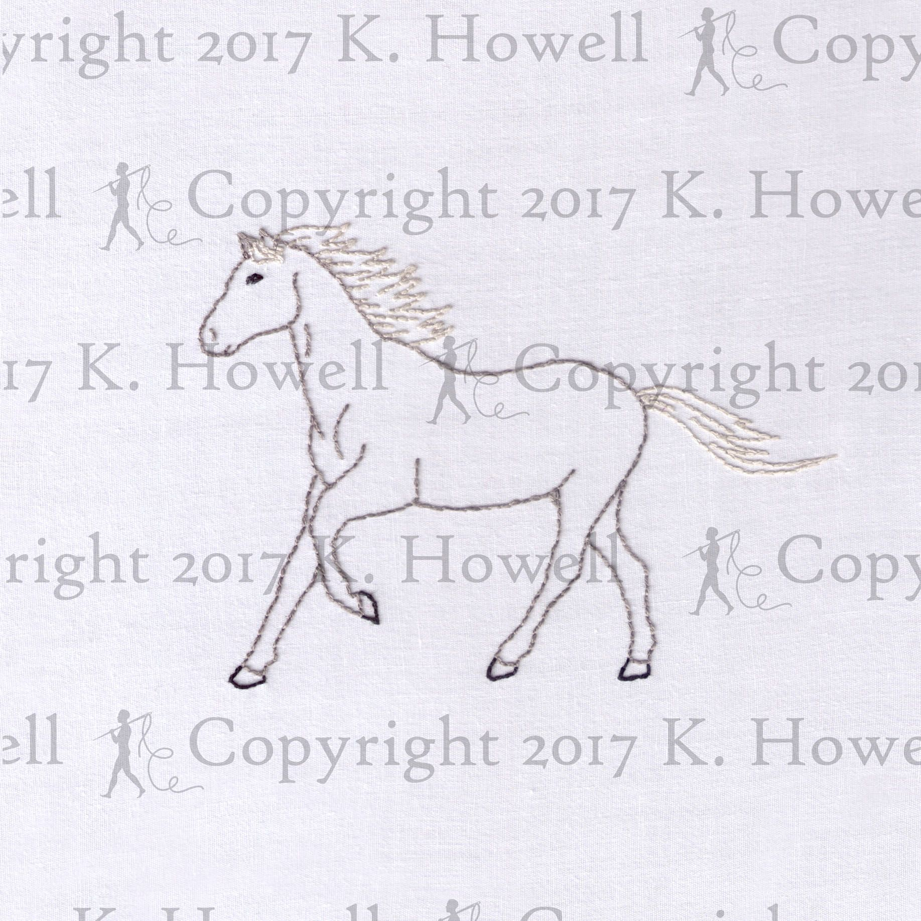 Horse Hand Embroidery Pattern Animal Hoof Trotting
