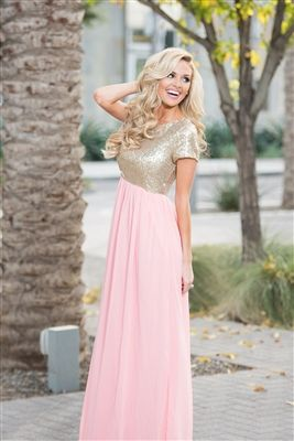2da6557bda9 Rose Gold Sequin Modest Bridesmaids