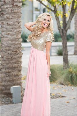 Rose Gold Sequin Modest Bridesmaids , modest dresses, best place ...