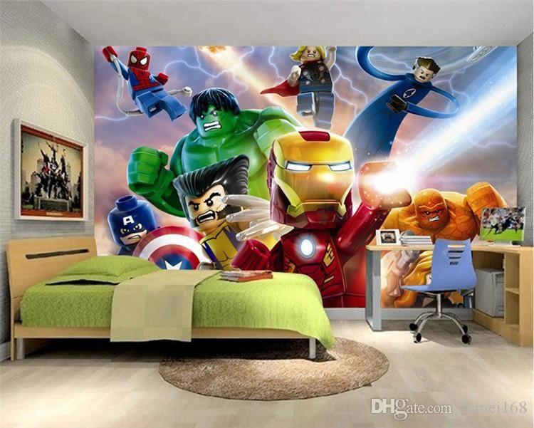 3d Lego Avengers Wallpaper For Walls Mural Cartoon Wallpaper