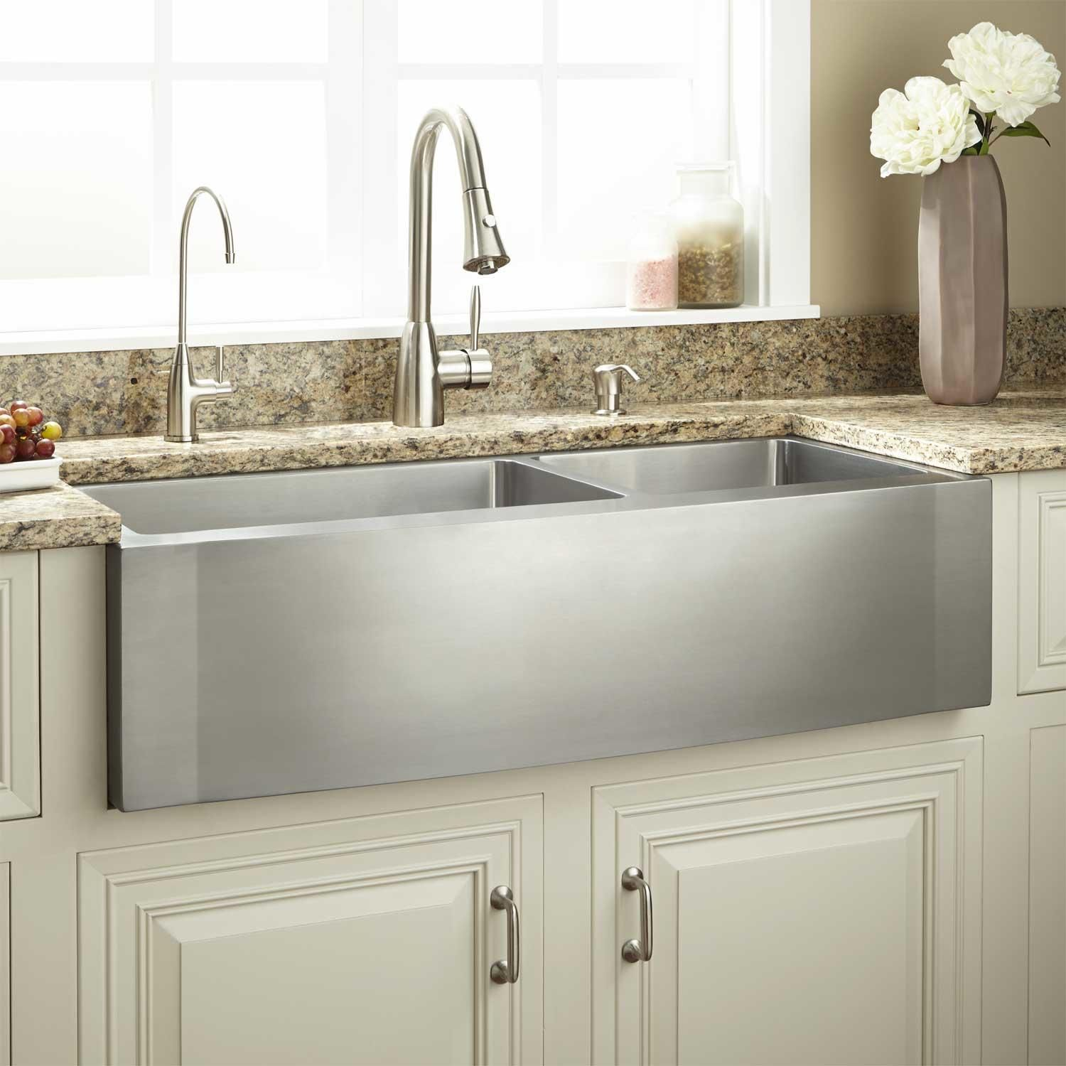 39 Optimum 60 40 Offset Double Bowl Stainless Steel Farmhouse Sink Wave Front