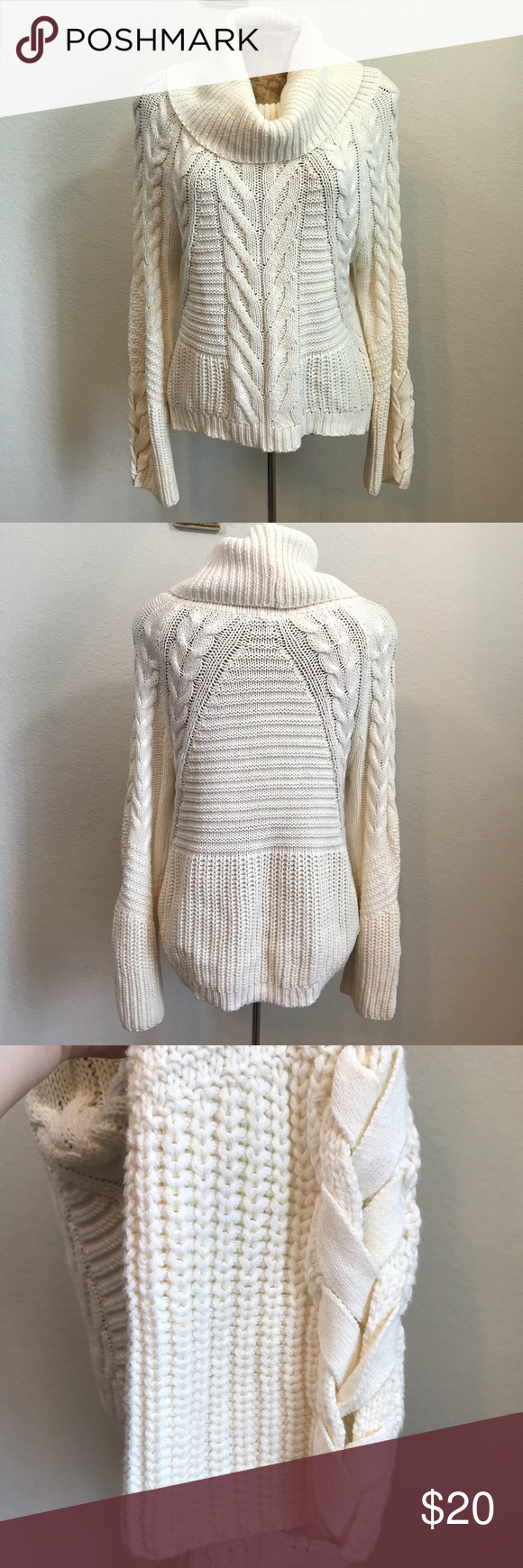 Express Cowl Neck Cable Knit Sweater Sz Xs Bell Bell Sleeve With Lace Up Look Detail Cowl Neck Cotton Acrylic Ma Cable Knit Sweaters Knitted Sweaters Cowl Neck