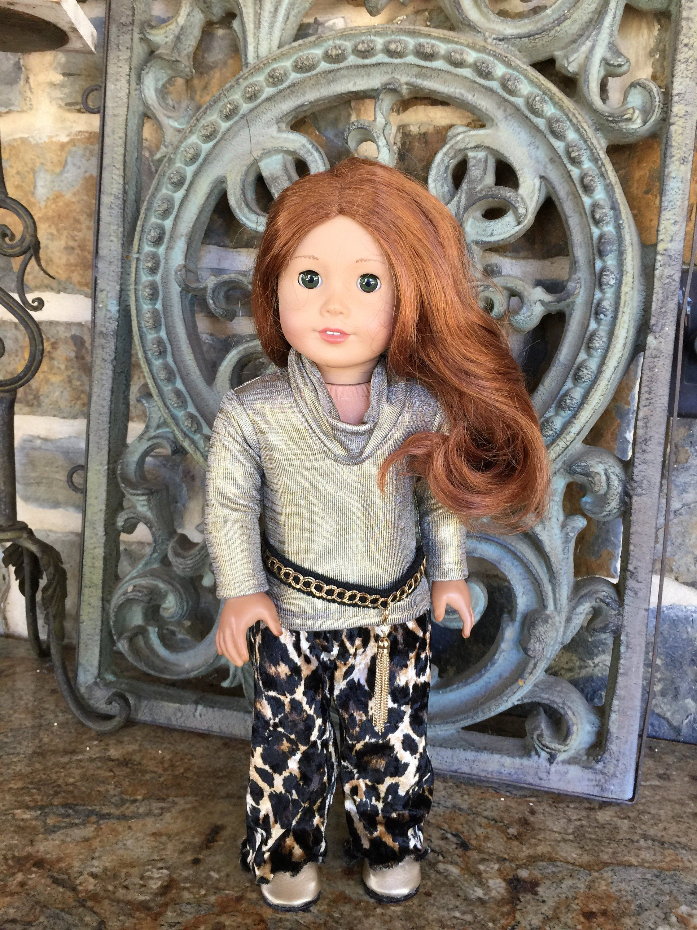 18 inch doll clothes made to fit dolls like the American Girl Doll-Velour wide leg pants-crystal necklace #18inchdollsandclothes