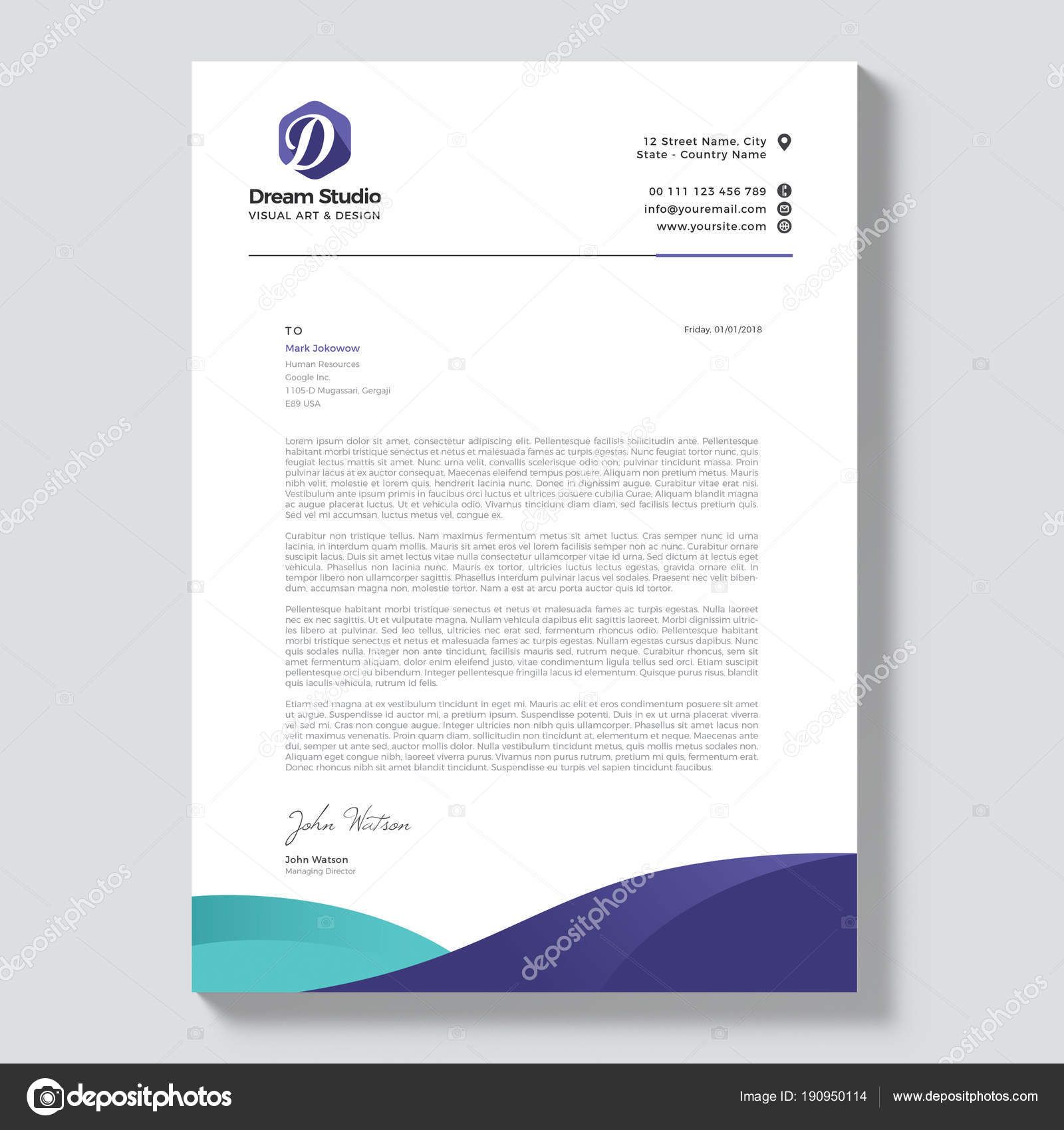Download Professional Letterhead Template Vector — Stock