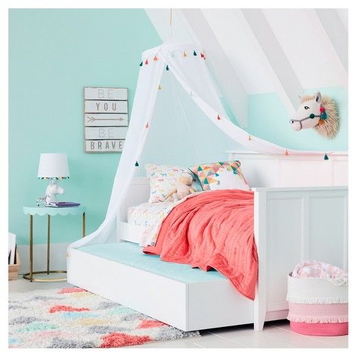 Pillowfort Tassel Bed Canopy One Size White  sc 1 st  Pinterest & Pillowfort Tassel Bed Canopy One Size White | Bed canopies Canopy ...