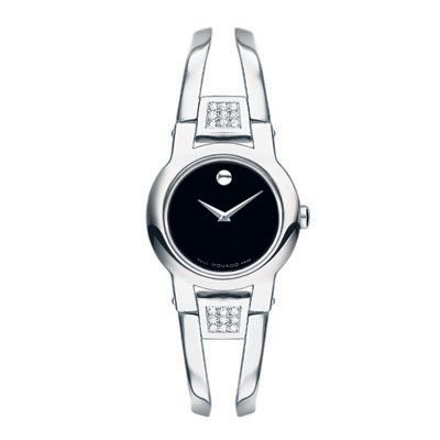 Ladies' Movado Amorosa Stainless Steel Bangle Watch with Diamond Accents (Model: 0604982) - Zales