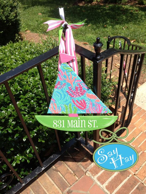 Wooden Hand Painted Lilly Pulitzer Sailboat Door by SayHayGifts