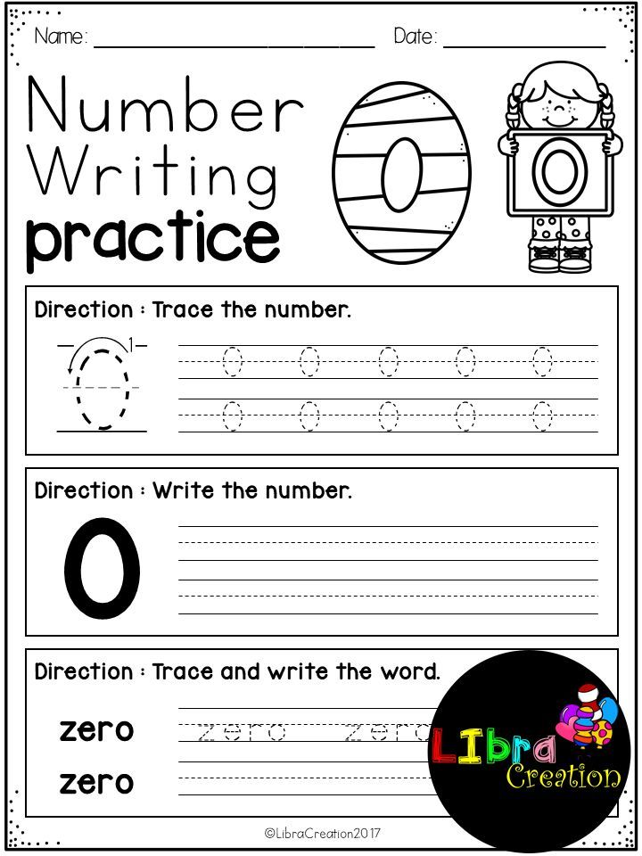 Number 0 - 20 Writing Practice | Number writing practice, Number ...