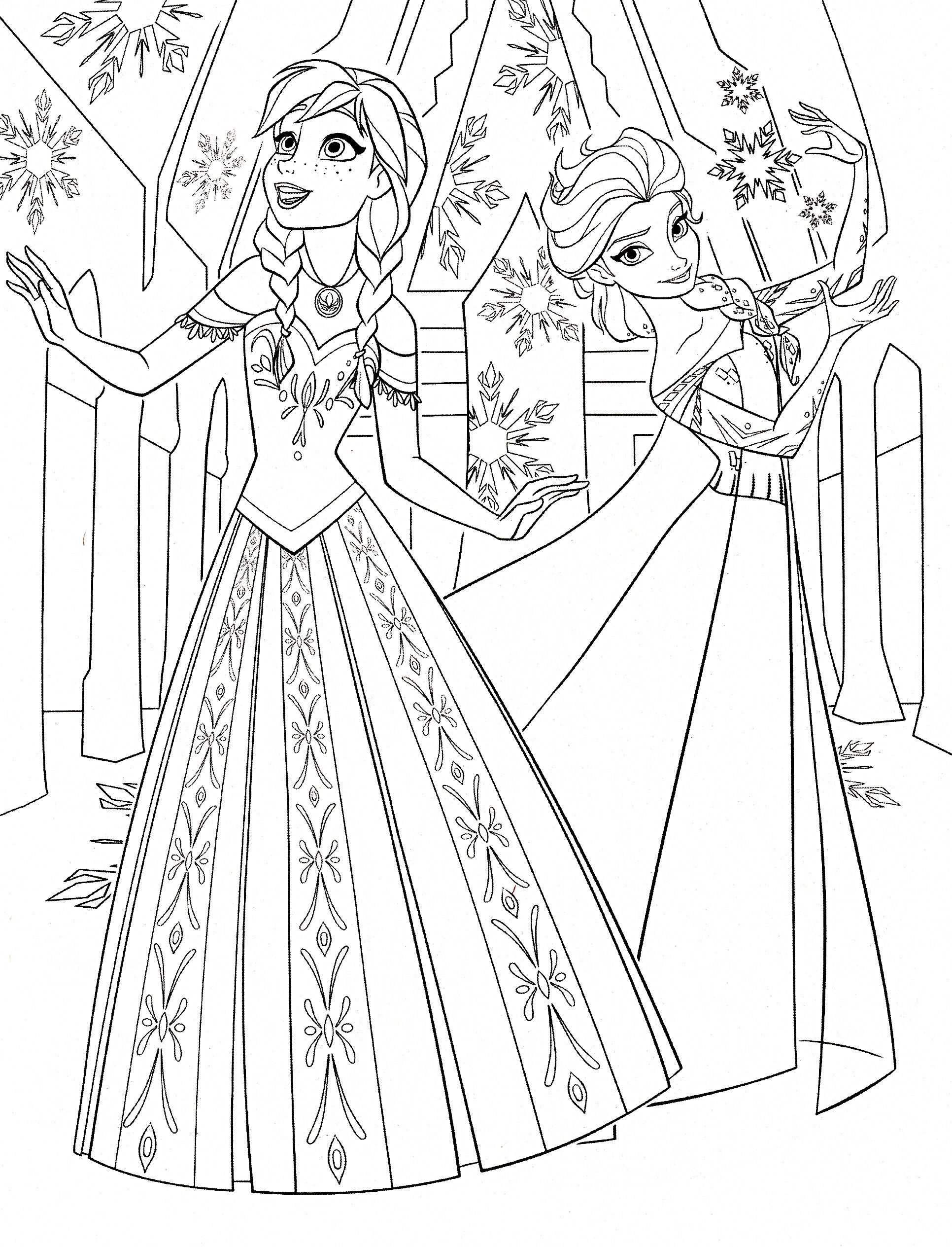 Coloring book disney princess - Color Pages Of Anna Elsa Frozen Walt Disney Princess Characters