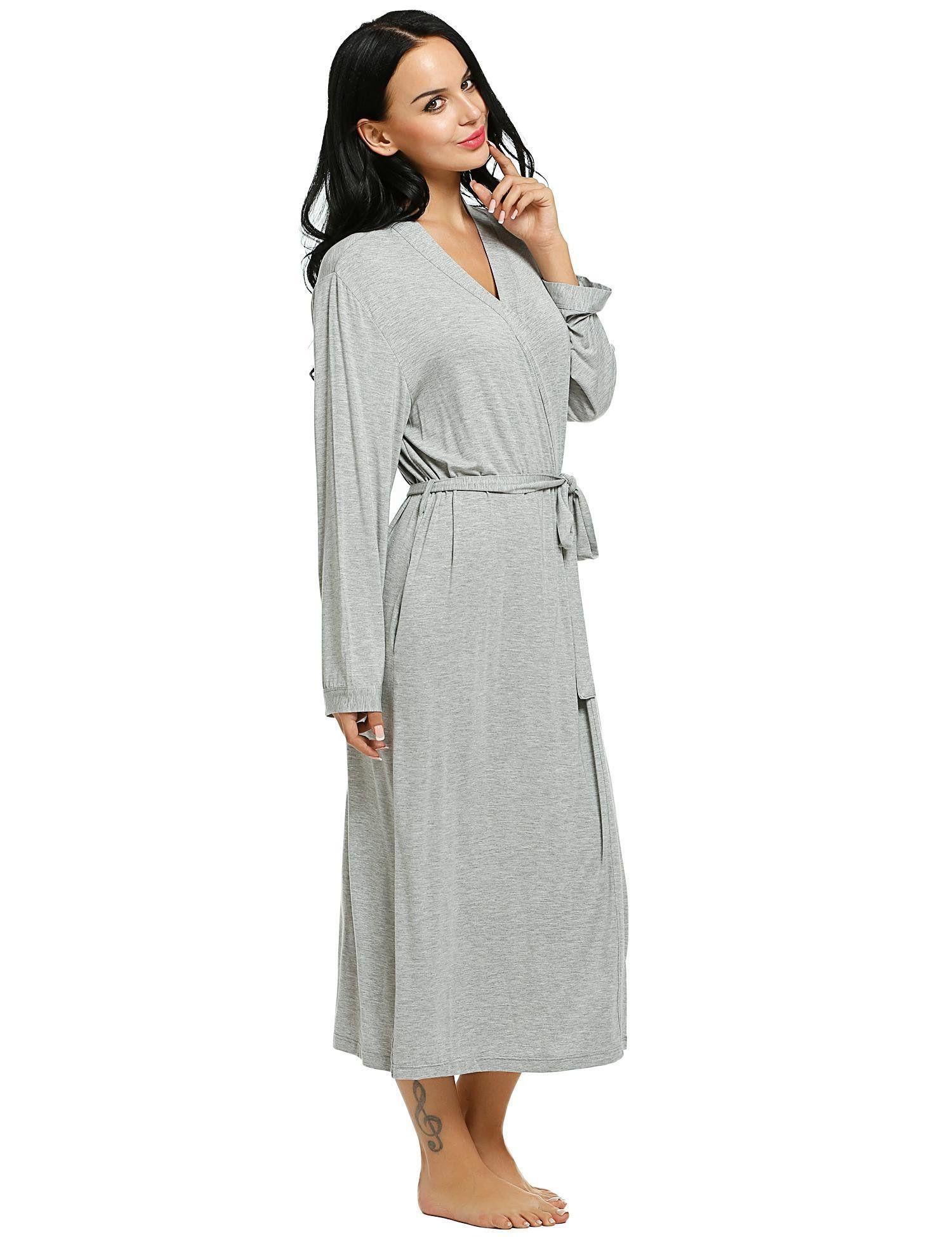Aimado Long Sleeve Robes Womens Dressing Gown Plus Size Sleepwear ...