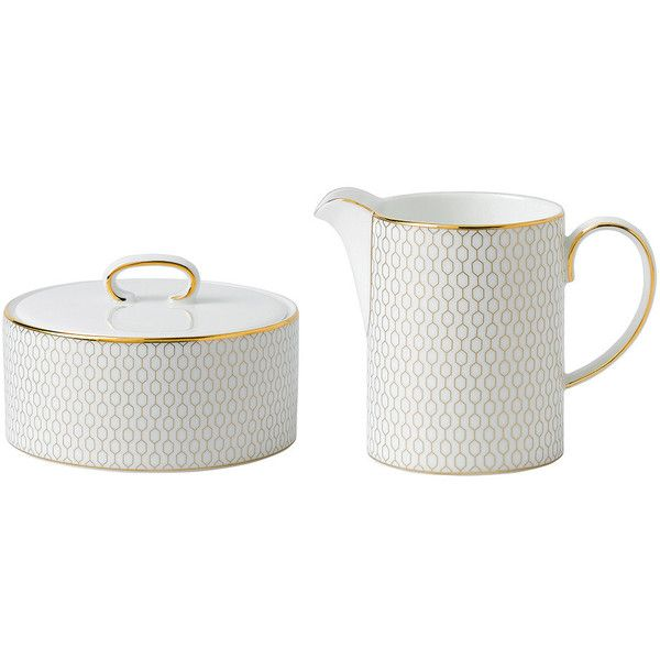 Wedgwood Arris Sugar Pot & Creamer (200 CAD) ❤ liked on Polyvore featuring home, kitchen & dining, serveware, metallic, wedgwood sugar bowl, wedgwood, wedgwood creamer and bone china