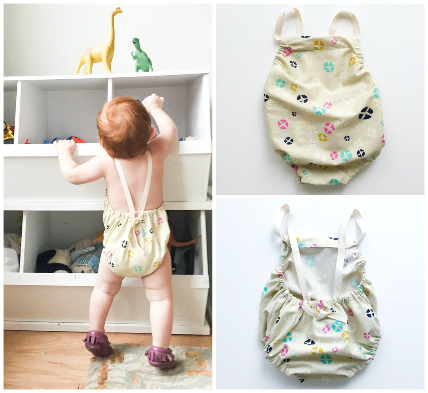 The cross back baby romper by One Little Minute is adorable and beginner friendly. Create a draw full in your favorite fabric colors and textures.-Sewtorial