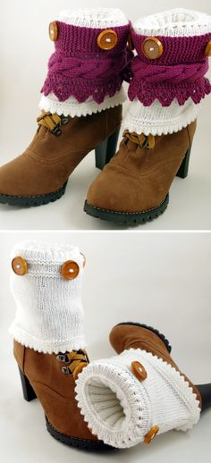 Free Knitting Pattern For 2 In 1 Boot Cuffs With Buttons And