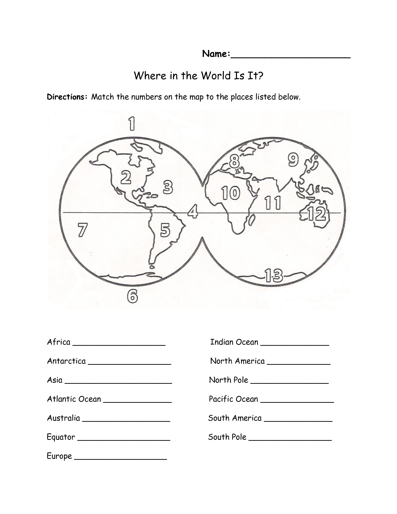 worksheet Ocean Worksheets Kindergarten printables continents and oceans of the world worksheet education label free