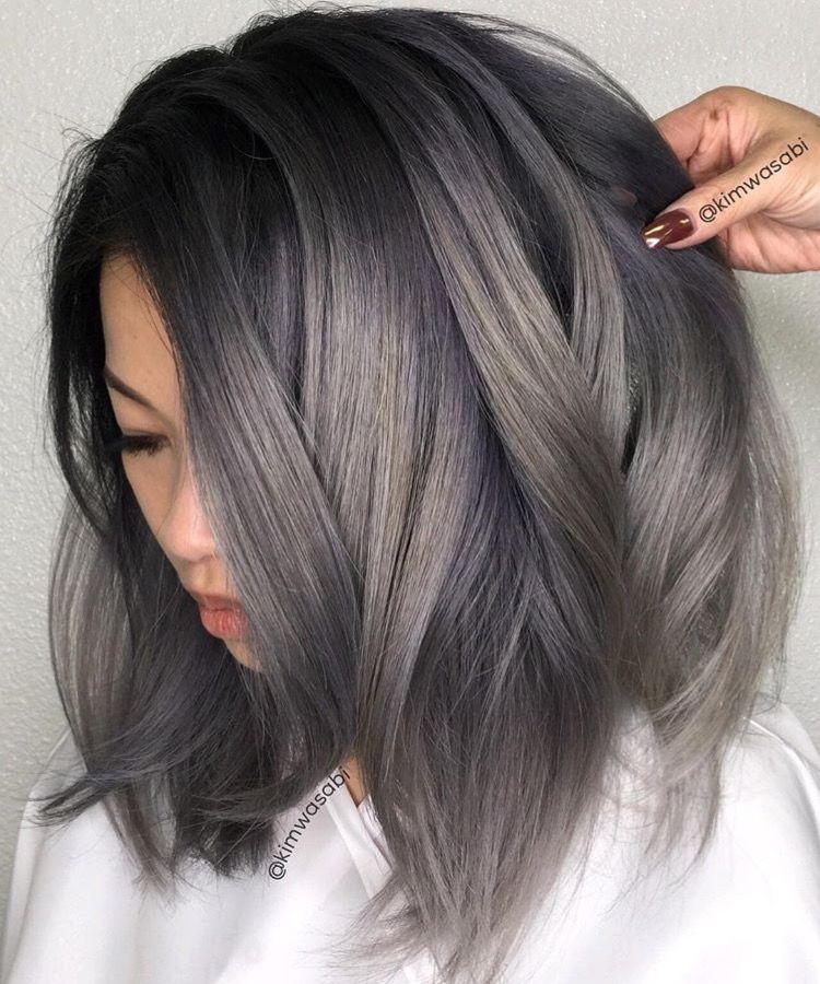 Grey Hair Grey Hair Color Charcoal Hair Short Hair Balayage