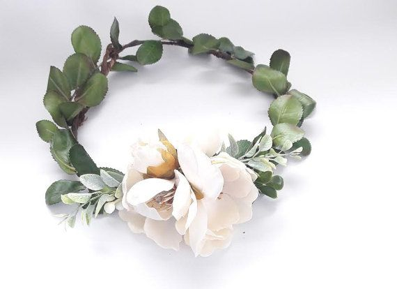 The Magnolia Flower Crown X2f Natural Flower Crown X2f Boho Bridal Bridal Flower Headpiece Flower Headpiece Wedding Magnolias Wedding Bouquet