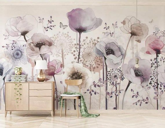 3d Floral Watercolor Purple Flower Self Adhesive Removable Etsy In 2020 Floral Wallpaper Mural Wallpaper Wall Painting