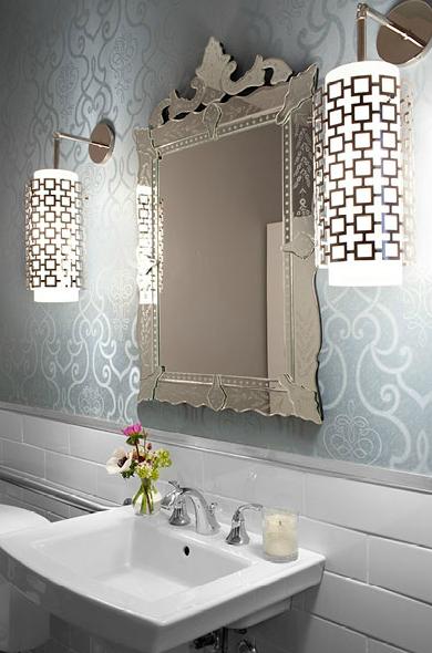 Beautiful Bathroom Design With Venetian Mirror White Pedestal Sink Blue Wallpaper Jonathan Adler