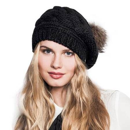 Casual cable knit beret hat for women with Fur pom pom hats  6d77598bbfa