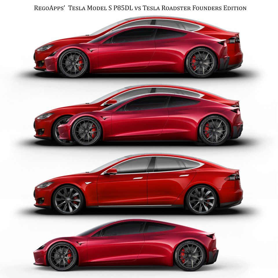 Tesla Roadster vs Model S size comparison teslamotors