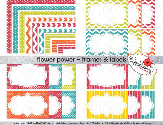 Flower Power Frames Labels Clip Art Pack Card Making Digital