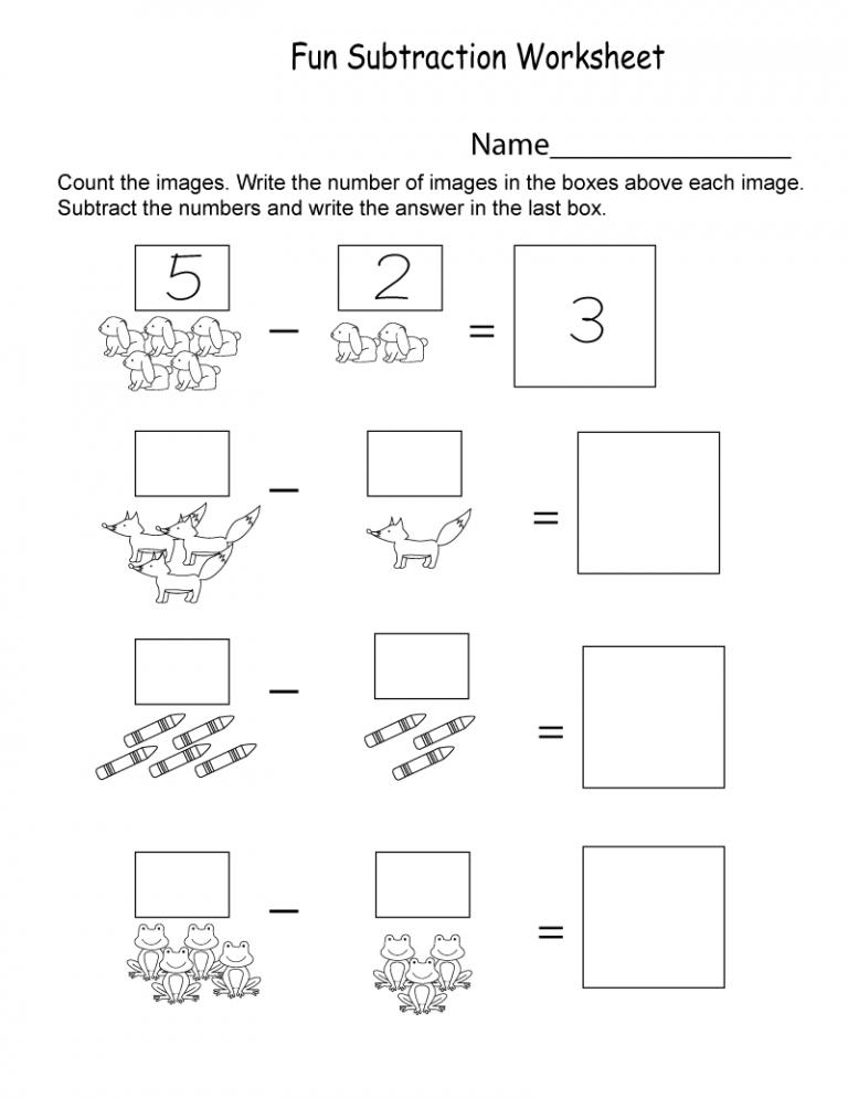 Introductory Kindergarten Math Worksheets PDF Math Worksheets,  Kindergarten Math Worksheets, Subtraction Worksheets