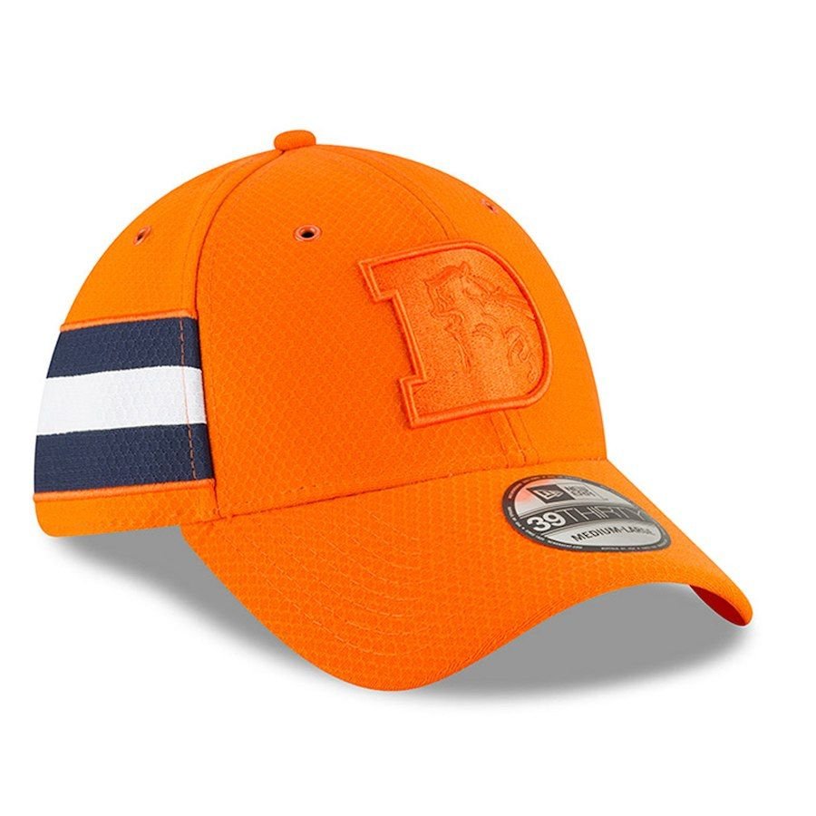 46bb2fae964 Men s Denver Broncos New Era Orange 2018 NFL Sideline Color Rush Official 39THIRTY  Flex Hat