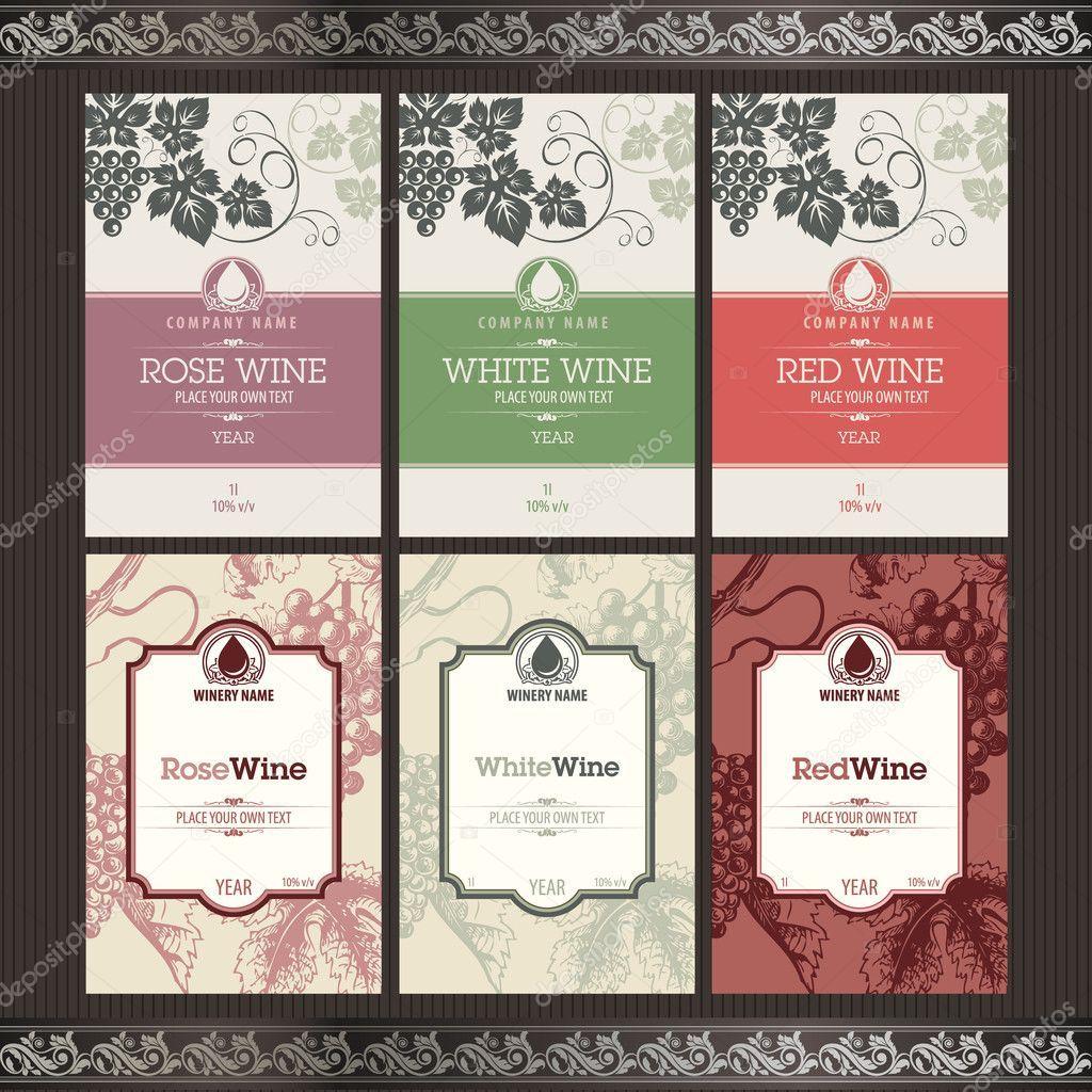 Vector Illustration Set Of Wine Label Templates Wine Label