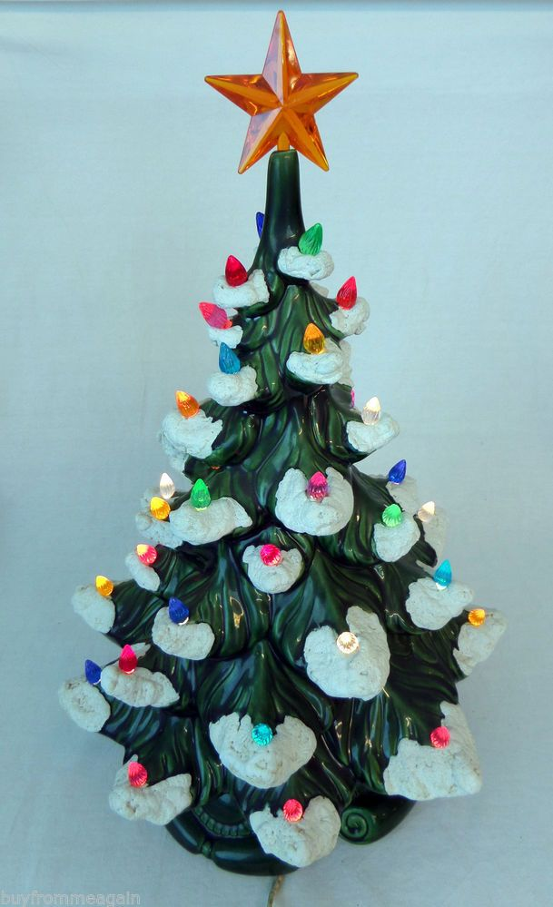 ceramic christmas tree green w base colorful plastic lights white snow 17 1976