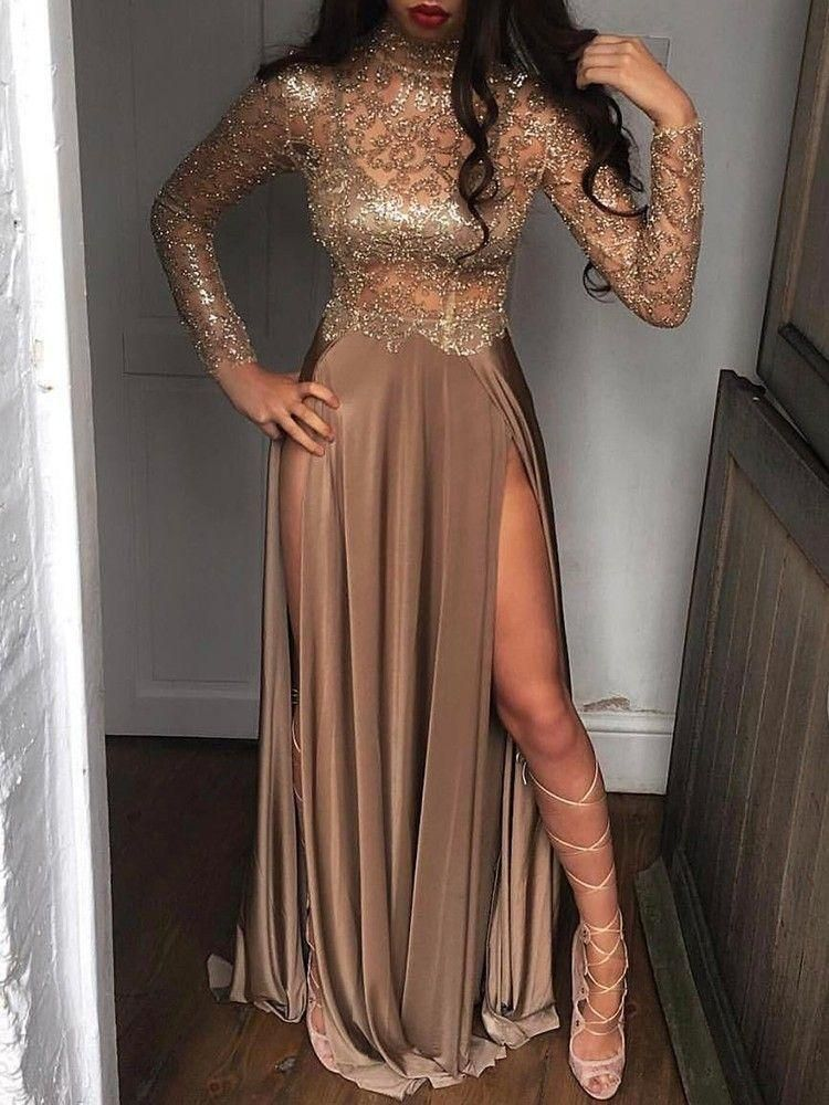 8fbd8ea838a08 2019 Sheer Sequins Long Sleeves Prom Dress Sexy High Slits Party Dress OP391