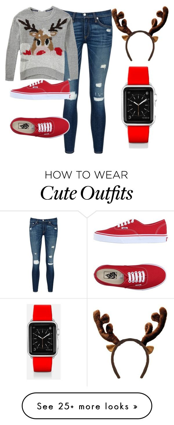 """Ugly Sweater Outfit- Rudolph"" by crowleyc-1 on Polyvore featuring rag & bone/JEAN, Vans and Casetify"