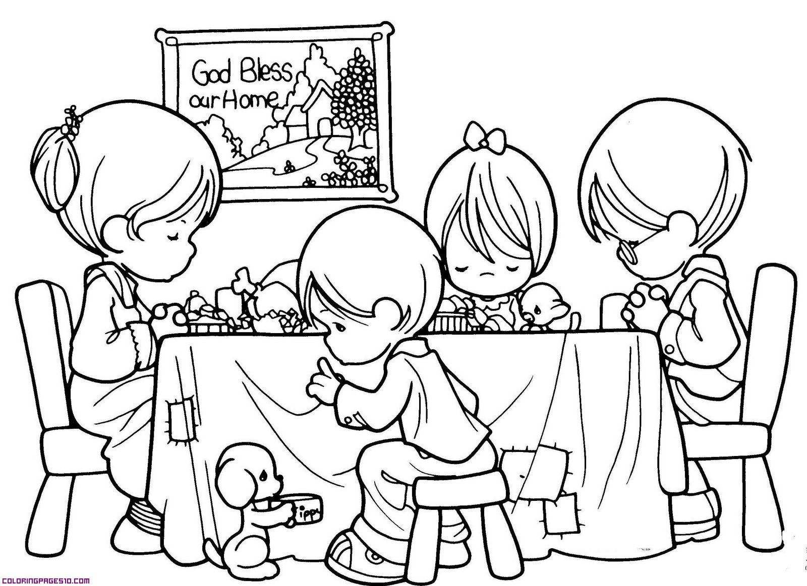 Lent Children Pray Fast Almsgiving Coloring Page Catholic