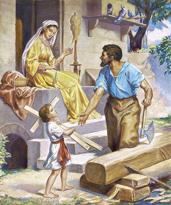 Luke 2 Boy Jesus Helping Joseph Sacra Famiglia Famiglia