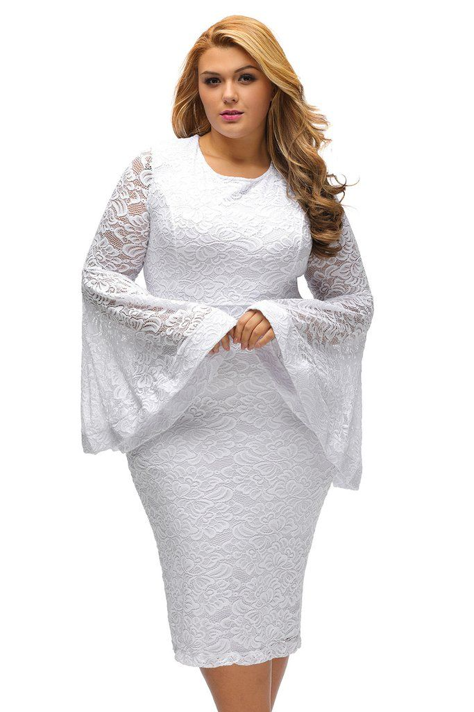 1a669caa21909 Robe Grandes Tailles Dentelle Blanche Manches Flare  robedentelle–  Modebuy.com