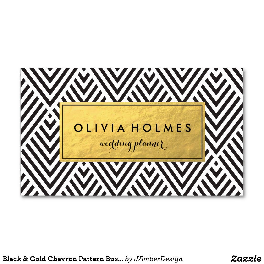Black & Gold Chevron Pattern Business Card | Business cards ...