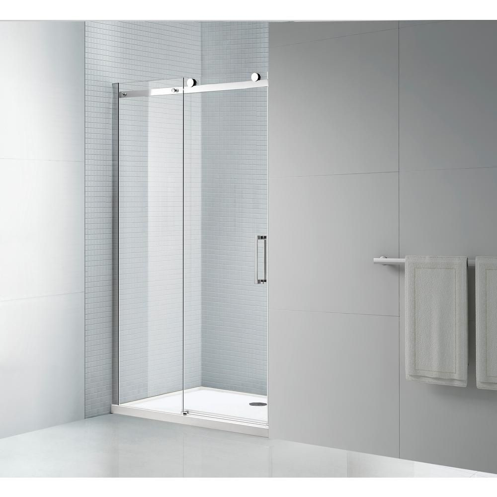 All We Trade Tidy 48 In X 78 In Frameless Sliding Shower Door In Chrome With 8 Mm Clear Glass Shower Doors Tub Shower Doors Frameless Sliding Shower Doors