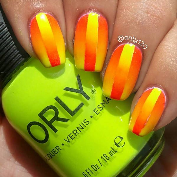 Yellow and orange ombre and reverse | Ombre Nail Art Designs | Pinterest