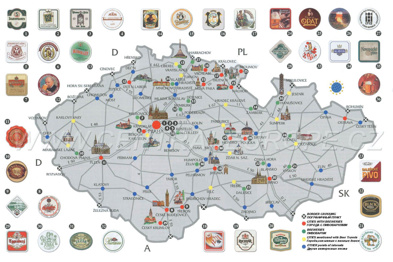 A Very Important Map Detailing Czech Breweries Again Youre - Czech republic map