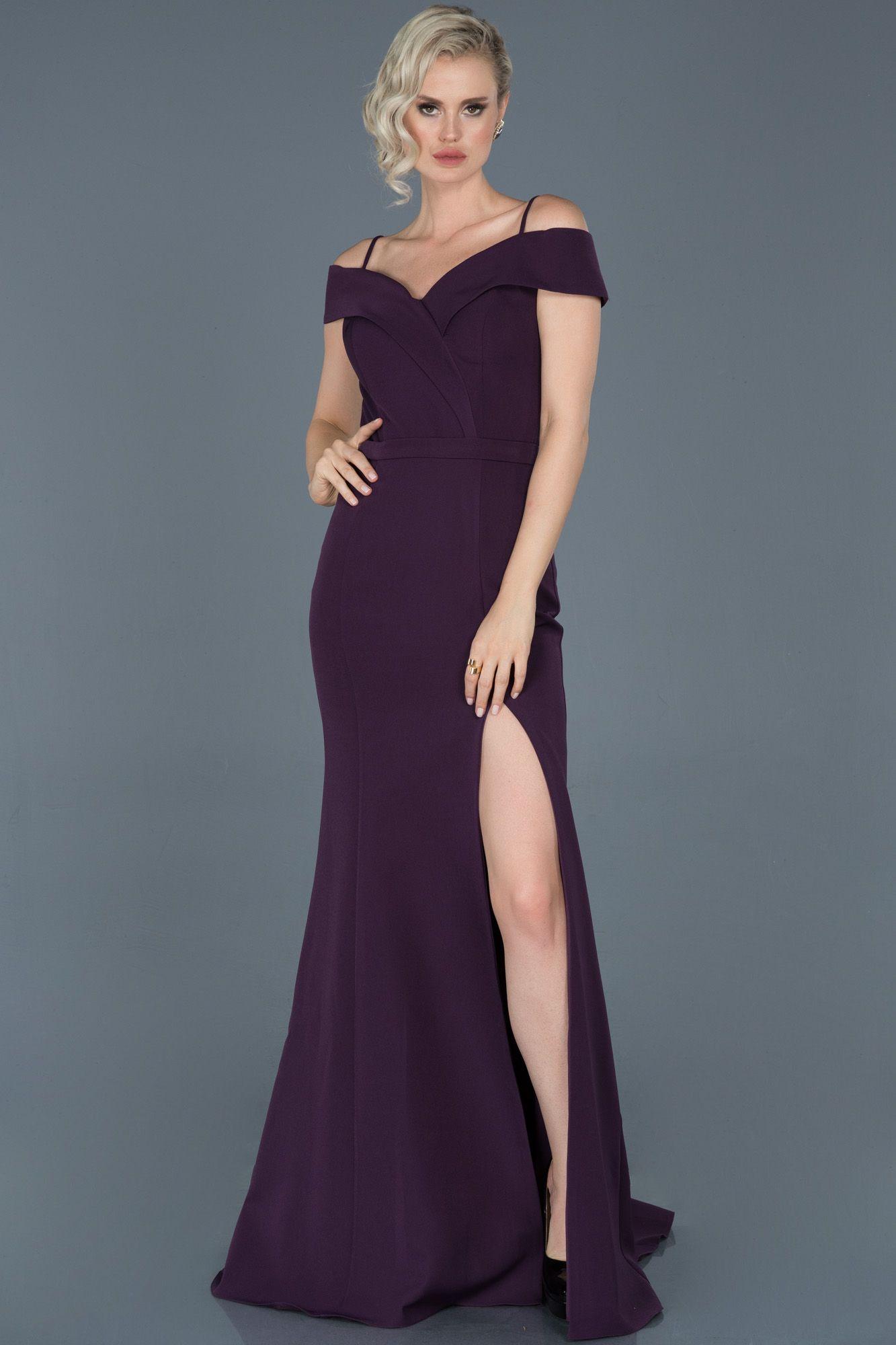 Koyu Mor Uzun Kayik Yaka Yirtmacli Balik Abiye Abu742 2020 Elbise Elbise Modelleri The Dress